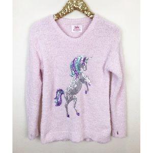 Justice Sequin Unicorn Fuzzy Metallic Sweater 20